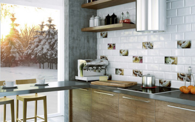 Białe cegiełki w kuchni