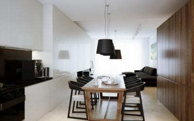 Czarno-biały minimalistyczny loft