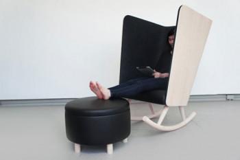Designerski fotel bujany