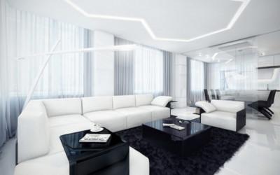 futurystyczney apartament w czerni i bieli  7
