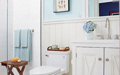 Piękna łazienka wykonana w stylu Hampton