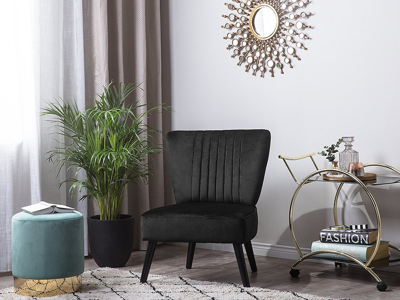 fotel welurowy Vaasa czarny