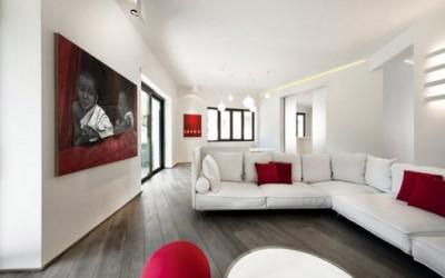Czerwono-białe wnętrze