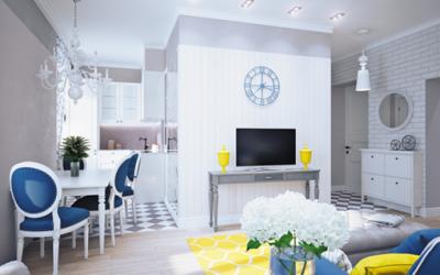 Dekoracja domu na żółto i niebiesko