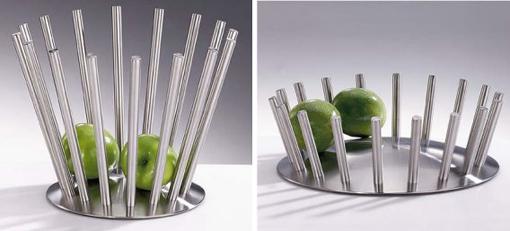 Designerskie metalowe pojemniki na owoce