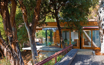 Drewniany dom otoczony lasem