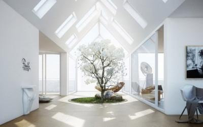 Wyjątkowy dom ze świetlikiem i dziedzińcem wewnętrznym