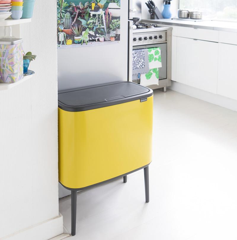 kosz dwukomorowy na śmieci do kuchni brabantia bo touch bin żółty